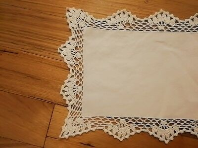 Cotton Yarn Hand Crocheted Table Cloth White 28cm W x 42cm L CR21