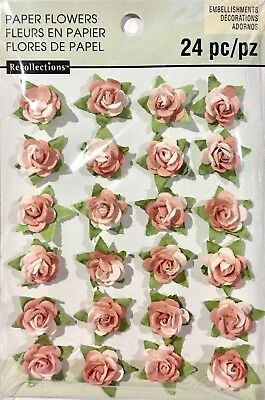 Recollections Embellishments Paper Flowers 24 Pink Coloured Pieces