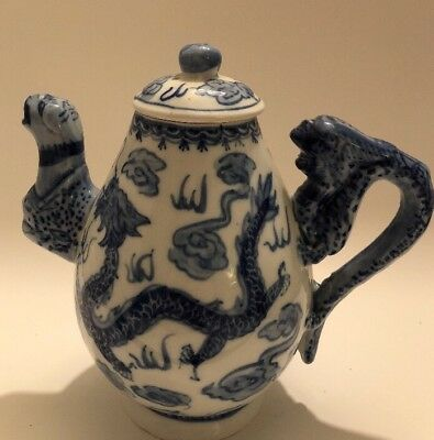 Vintage Chinese Blue and White Porcelain Dragon Teapot marked