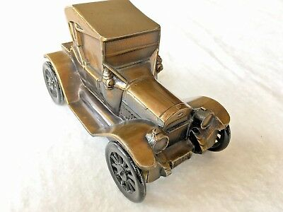 Vintage Cast Brass or Bronze Antique Car Piggy Bank