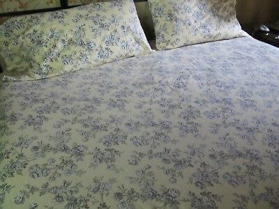 Ralph Lauren Yellow Toile Roses COTTAGE HILL KING Fitted Sheet + Pillowcases (2)