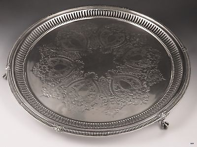 Antique c1860 English Silver Plate Large Round Decorative Serving Tray