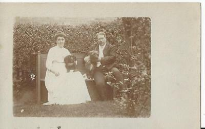 Edwardian Couple In The Garden With Their Dogs - Black Spaniel Vintage Photo Pc
