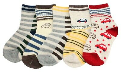 Baby Boys 5-pack Striped Cars Anti-slip Ankle Grip Socks 6 12 18 Months 2 3 4 Yr