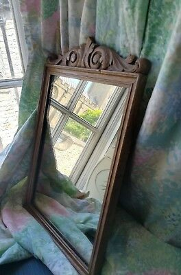 Vintage mirror gold finish wall hanging HEAVY oak? 17.5x11.5 inch SCROLL country