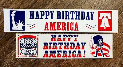 2 VTG Happy Birthday America 1976 Bumper Sticker patriotic flag red white blue