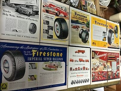 Lot Vintage ADS / ADVERTISING ~ FIRESTONE TIRES ~ Tire