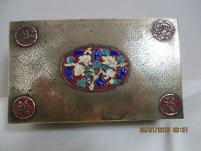 Antique Chinese Brass Enamel Cloisonne Double Happiness Box