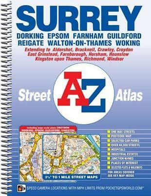 Surrey Street Atlas by Geographers' A-Z Map Company New Spiral bound Book