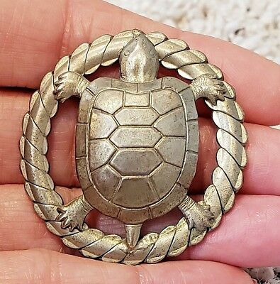 Large Antique/Vintage Metal Picture Button…Turtle…French White?
