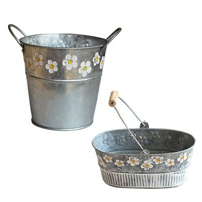 Vintage Metal Iron Bucket Flower Pot Hanging Balcony Garden Plant Basket Planter