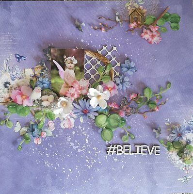 "Handmade Pre-made Mixed Media 12"" x 12"" Scrapbook Page Layout - Believe"