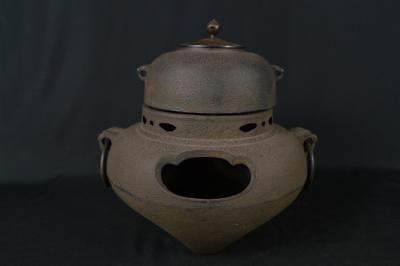 M287: Japanese Iron Kimen TEAKETTLE Teapot Chagama w/copper lid Tea Ceremony