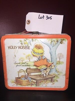 Vintage 1970's Holly Hobbie Red Original Metal Lunch Box Thermos Used Lot 305