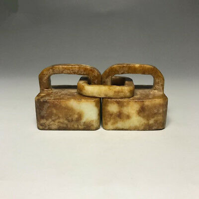 Collect Ancient Old Xiu jade handmade carving Double ring seal statue antique