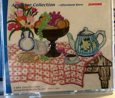 JANOME APPLIQUE COLLECTION -AFTERNOON BREW-.jef FORMAT designs