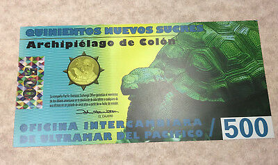 Galapagos Islands 500 Sucres 2012 Polymer Fantasy Note w/ Galapagos Tortoise