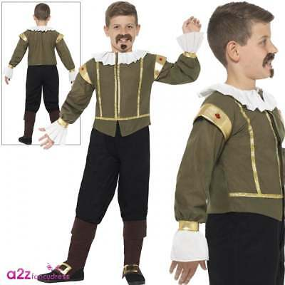Boys William Shakespeare Costume Child Tudor Medieval Poet Book Week Fancy Dress