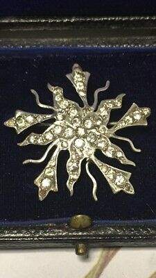 Antique Early Victorian Or Georgian Silver Starburst Starburst Paste Brooch