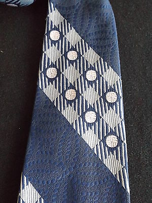 "Vintage Retro Blue  Circle & Square Pattern Mens Tie 9cm wide  ""Finest Filament"""