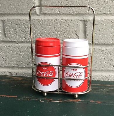 Coca Cola Salt And Pepper Shakers With Caddy