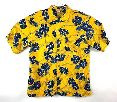 VTG Dod Gest Mens Hawaiian Shirt Button Front Yellow Blue Floral Size Large