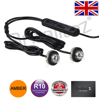 12v 24v Flashing LED HIDE AWAY LIGHTS, Light Bar Recovery Strobe Beacon AMBER