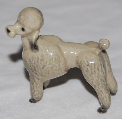 Vintage Miniature Mini Porcelain Standing Gray French Poodle Dog Figurine Figure