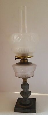 Antique Frosted Glass Oil Parlour Lamp Figural Cast Iron Base Puritan Woman