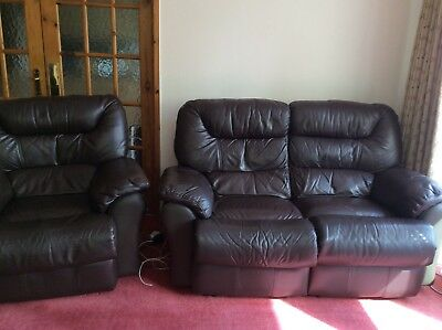 Used 2 seater brown leather reclining sofa with 2 chairs