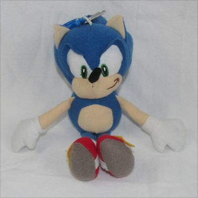 "Sonic The Hedgehog Plush Doll Key Chain Coin Bag Clip On 8""  Doll Figure Sega"