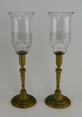 Antique Victorian Brass Chimney Candle Holders Candlesticks