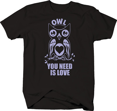 Owl You Need Is Love Girlie Shirt Baumwolle Beatles Zitat Eulen Zebrastreifen