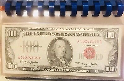 $100 RED SEAL - Series 1966 low serial #, very nice bill crisp and bright colors