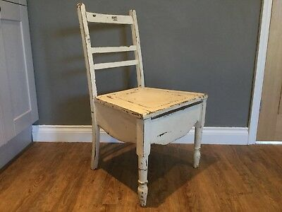 Vintage Shabby Chic Antique Cream Wooden Commode Chair With Enamel Pot