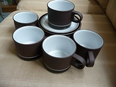 Vintage Hornsey Contrast Tea/Cappuccino Cups and saucers -Set of 5