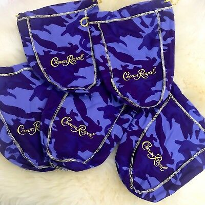 *NEW* Lot Of 5 Crown Royal Purple Camo Camouflage *Limited Edition* Bags