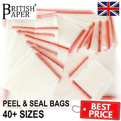 Clear Cellophane Cello Bags Display Garment Self Adhesive Peel Seal Small Large