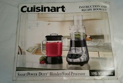 Cuisinart instruction and recipe booklet SmartPower Duet FPB-5CHB GUC (BE)