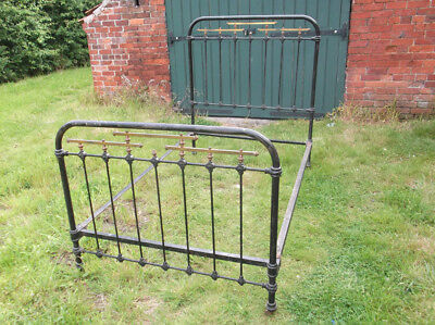 Antique Victorian iron & brass bed frame, black frame in original condition