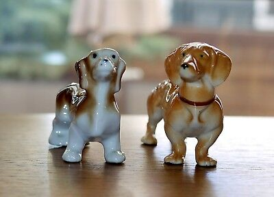 Occupied Japan 2 Porcelain Dachshund (Wiener) Dogs MINT Condition!!