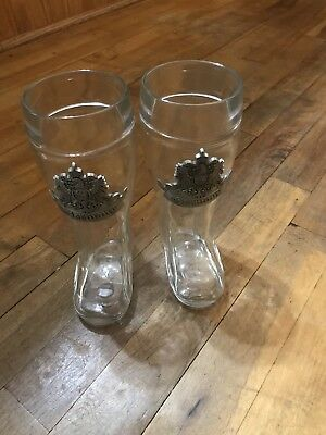 Two German Glass Beer Boot .5 L (Das Boot)