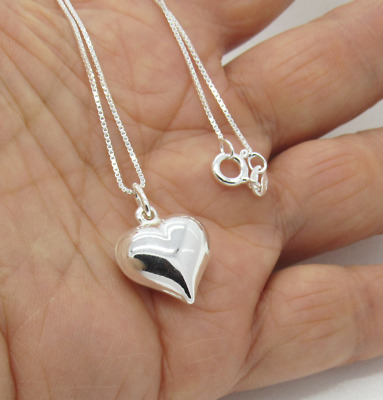 Solid 925 Sterling Silver 3D Puff Love Heart Pendant Necklace with Box Chain