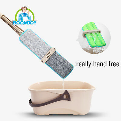 Boomjoy hands-free microfiber flat 360 rotation mop sweeper broom x 2