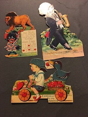 Vintage 3 Valentines Children & Lion Movable Parts Made In Germany