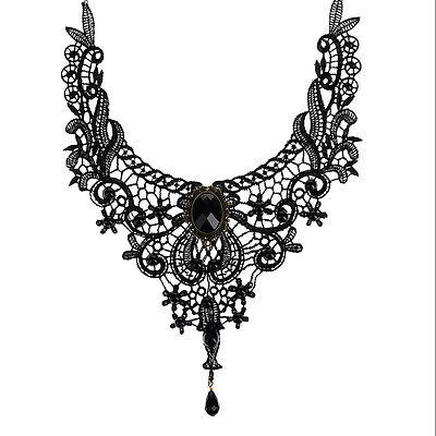 Black Lace&Bead Choker Victorian Steampunk Style Gothic Collar Necklace Gift jx