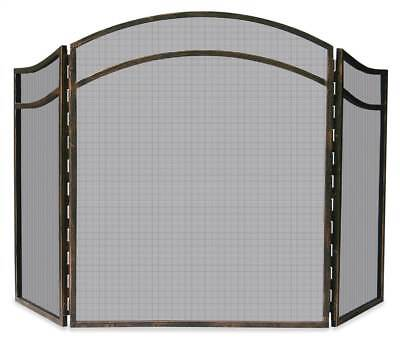 3-Fold Wrought Iron Arched Top Screen in Antique Rust Finish [ID 3424016]