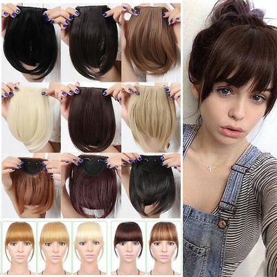 Side Bangs Clip on Neat Bang Fringes Clip in Hair Extensions as Human Synthetic