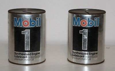 2 Vintage Mobil 1 Synthesized Engine Lubricant Motor Oil Can Mini Coin Bank 4""