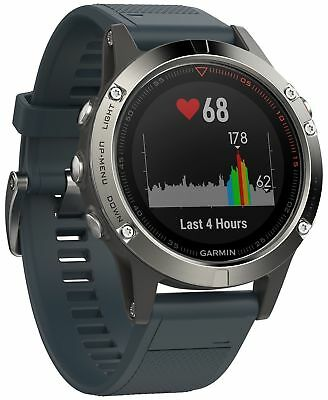 Garmin Fenix 5 Silver with Granite Blue Band GPS MultiSport Watch